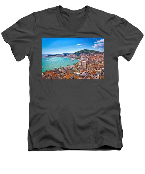Split Waterfront And Marjan Hill View Men's V-Neck T-Shirt by Brch Photography