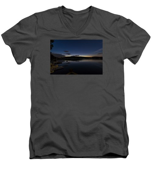 Men's V-Neck T-Shirt featuring the photograph Spofford Lake Dawn by Tom Singleton
