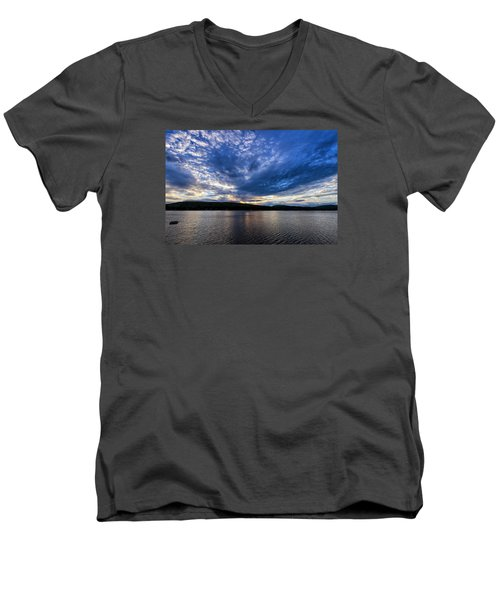 Men's V-Neck T-Shirt featuring the photograph Spofford Lake Sunrise by Tom Singleton
