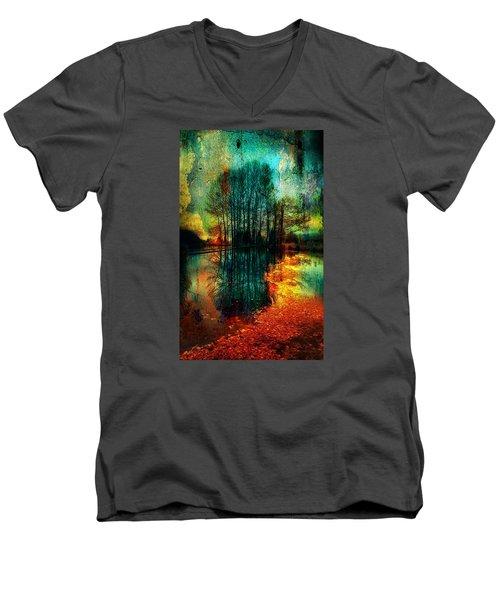 Spook Tree Men's V-Neck T-Shirt by Greg Sharpe