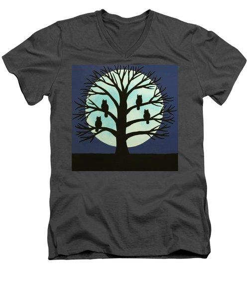 Spooky Owl Tree Men's V-Neck T-Shirt