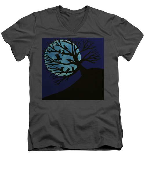 Spooky Raven Tree Men's V-Neck T-Shirt