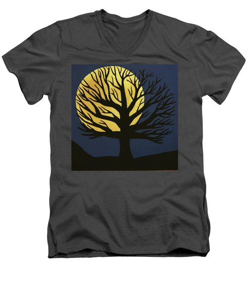 Spooky Tree Yellow Men's V-Neck T-Shirt