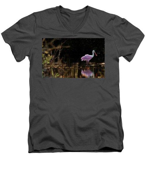 Spoonbill Fishing For Supper Men's V-Neck T-Shirt