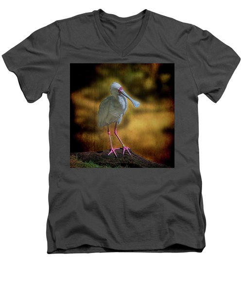 Men's V-Neck T-Shirt featuring the photograph Spoonbill by Lewis Mann