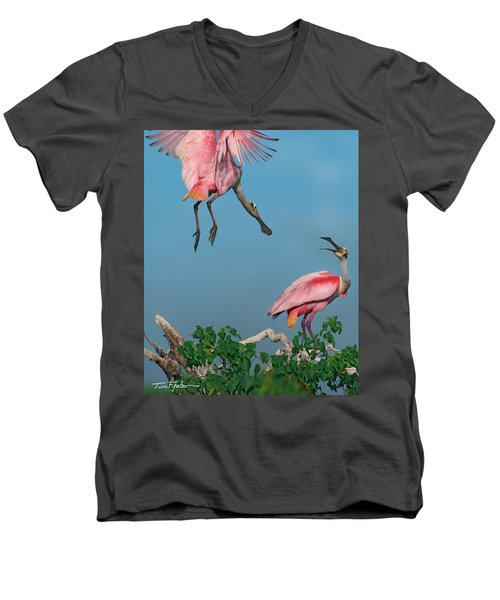 Spoonbills Greeting Men's V-Neck T-Shirt