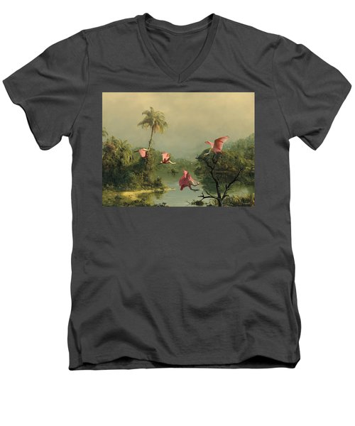 Spoonbills In The Mist Men's V-Neck T-Shirt by Spadecaller