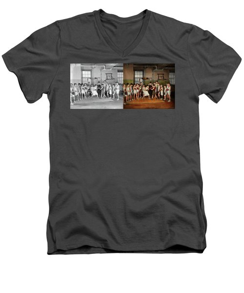 Men's V-Neck T-Shirt featuring the photograph Sport - Boxing - Fists Of Fury 1924 - Side By Side by Mike Savad
