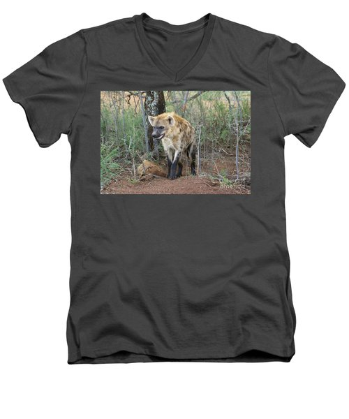 Men's V-Neck T-Shirt featuring the photograph Spotted Hyena by Myrna Bradshaw