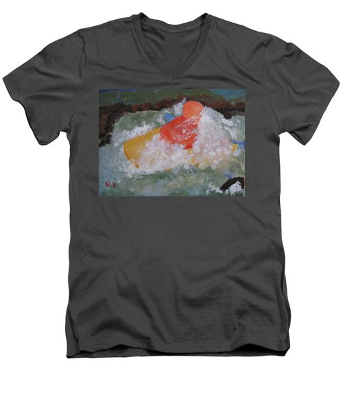 Men's V-Neck T-Shirt featuring the painting Spray by Sandy McIntire