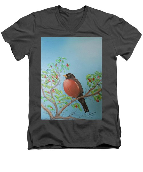 Spring Men's V-Neck T-Shirt by Al Johannessen