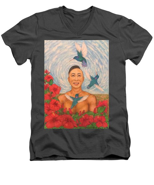 Spring Amazed By The Hummingbirds Men's V-Neck T-Shirt by Kent Chua