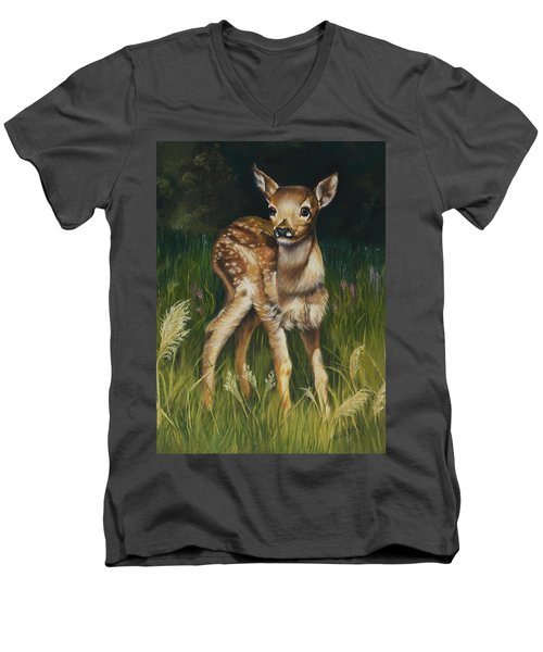 Spring Baby Fawn Men's V-Neck T-Shirt