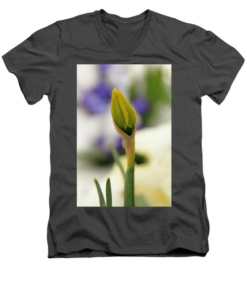 Men's V-Neck T-Shirt featuring the photograph Spring Blooms In The Snow by Chris Berry