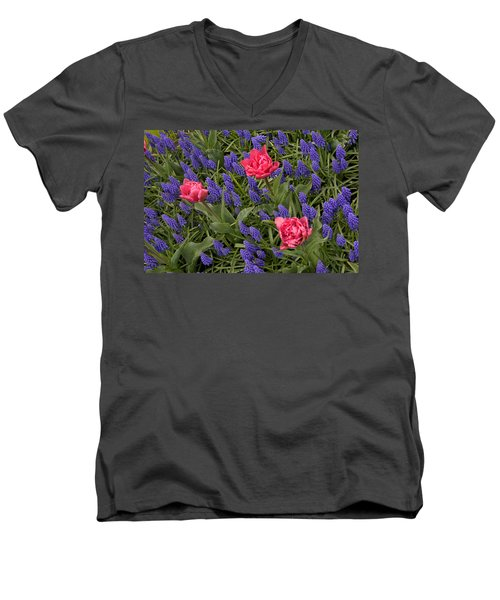 Men's V-Neck T-Shirt featuring the photograph Spring Blooms by Phyllis Peterson