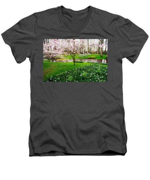 Men's V-Neck T-Shirt featuring the photograph Spring Blossom In Keukenhof Garden by Jenny Rainbow