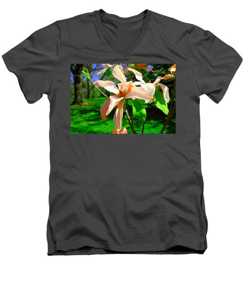 Men's V-Neck T-Shirt featuring the photograph Spring Blossom Open Wide by Jeff Swan