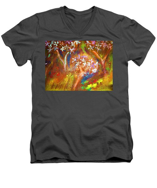 Men's V-Neck T-Shirt featuring the painting Spring Blossom by Winsome Gunning