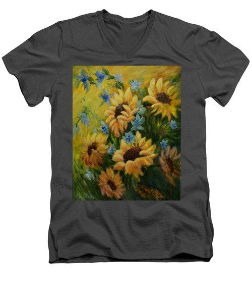 Sunflowers Galore Men's V-Neck T-Shirt by Joanne Smoley