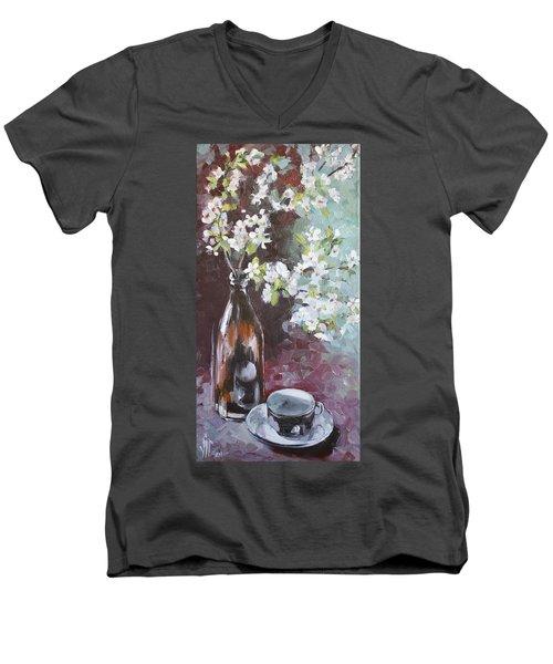 Spring Breakfast Men's V-Neck T-Shirt by Vali Irina Ciobanu