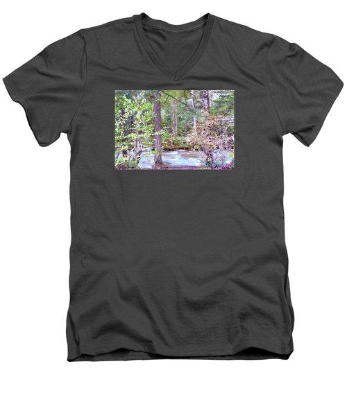 Men's V-Neck T-Shirt featuring the digital art Spring Brook by John Selmer Sr