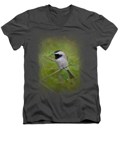 Spring Chickadee Men's V-Neck T-Shirt by Jai Johnson