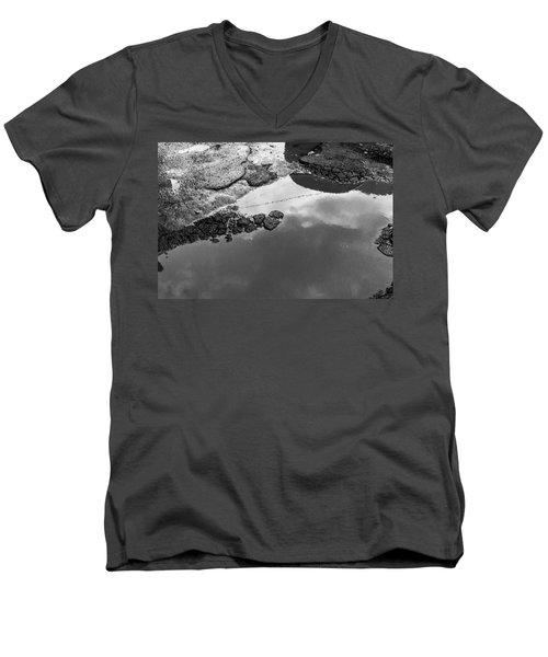 Spring Clouds Puddle Reflection Men's V-Neck T-Shirt