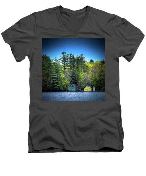Spring Day At Old Forge Pond Men's V-Neck T-Shirt by David Patterson