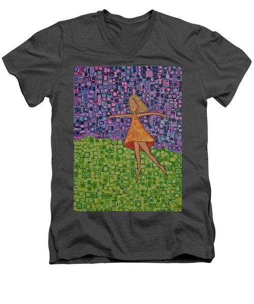 Men's V-Neck T-Shirt featuring the painting Spring by Donna Howard