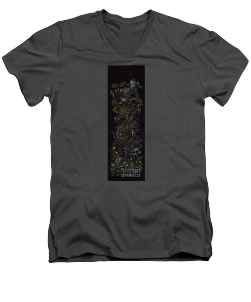 Men's V-Neck T-Shirt featuring the drawing Spring Dryad by Dawn Fairies