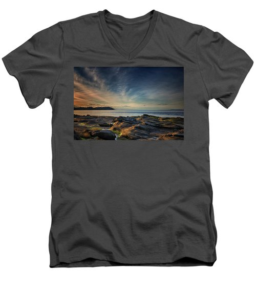 Spring Evening At Madrona Men's V-Neck T-Shirt by Randy Hall