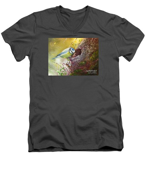 Men's V-Neck T-Shirt featuring the painting Spring Feeding by Patricia Schneider Mitchell