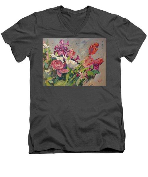 Spring Flowers Bouquet Men's V-Neck T-Shirt