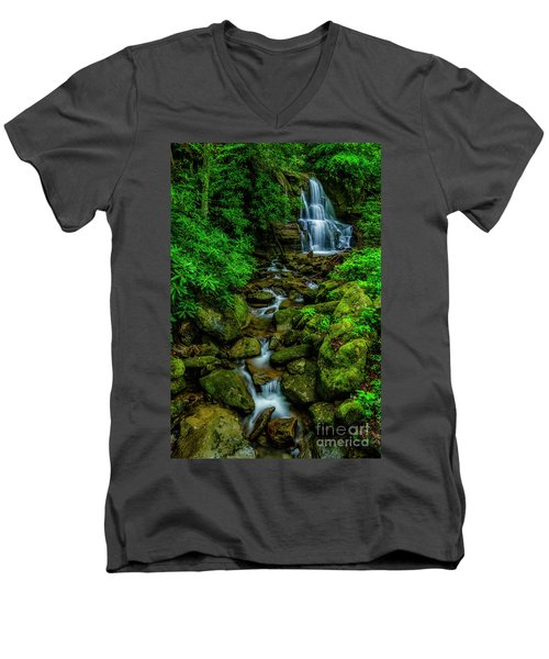 Spring Green Waterfall And Rhododendron Men's V-Neck T-Shirt