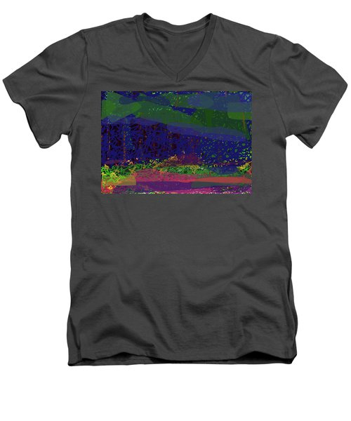 Men's V-Neck T-Shirt featuring the digital art Spring Homage To Jackson by Walter Fahmy