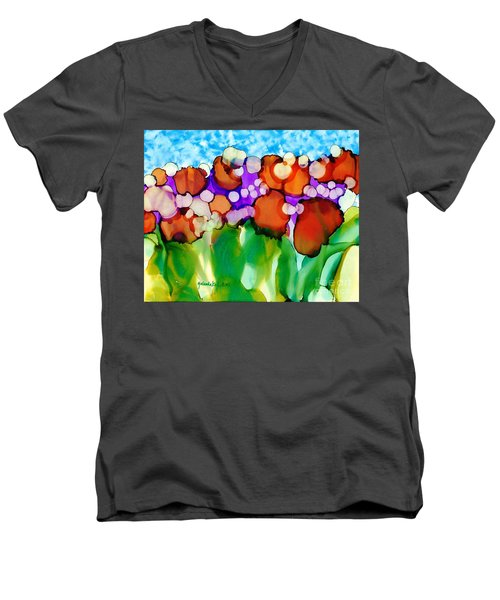Men's V-Neck T-Shirt featuring the painting Spring In Charleston by Yolanda Koh