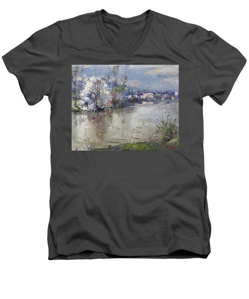 Spring In Hyde Park Men's V-Neck T-Shirt by Ylli Haruni