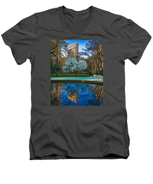 Spring In Madison Square Park Men's V-Neck T-Shirt by Chris Lord
