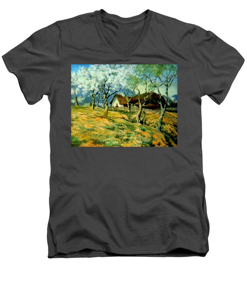 Men's V-Neck T-Shirt featuring the painting Spring In Poland by Henryk Gorecki