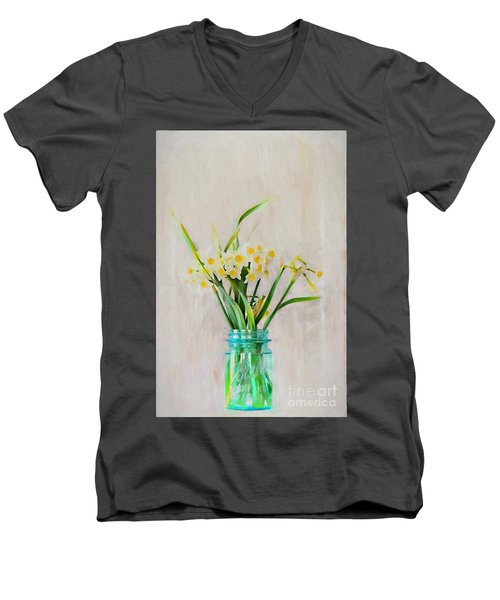 Men's V-Neck T-Shirt featuring the photograph Spring In The Country by Benanne Stiens