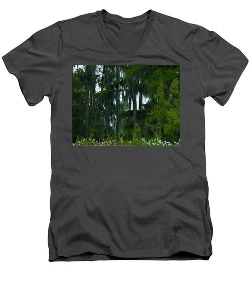 Spring In The Swamp Men's V-Neck T-Shirt by Kimo Fernandez