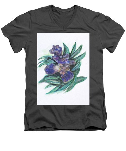 Spring Iris Bloom Men's V-Neck T-Shirt by Clyde J Kell