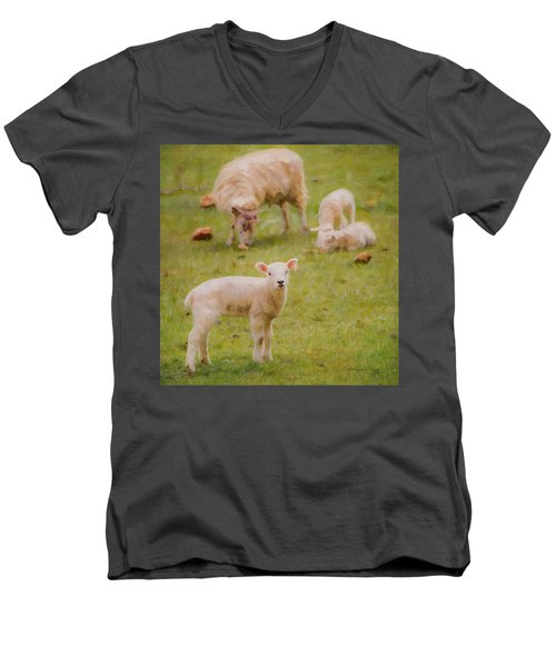 Men's V-Neck T-Shirt featuring the photograph Spring Lamb by Bellesouth Studio