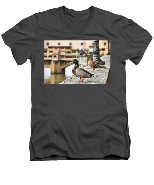 Spring Love Ducks Men's V-Neck T-Shirt