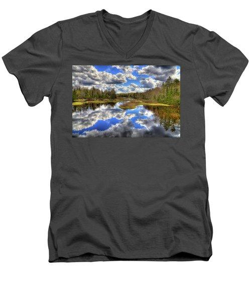 Spring Morning At The Green Bridge Men's V-Neck T-Shirt by David Patterson