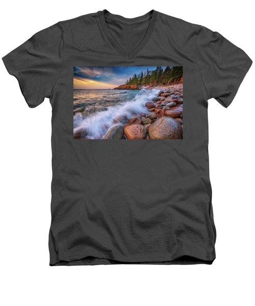 Spring Morning In Acadia National Park Men's V-Neck T-Shirt by Rick Berk