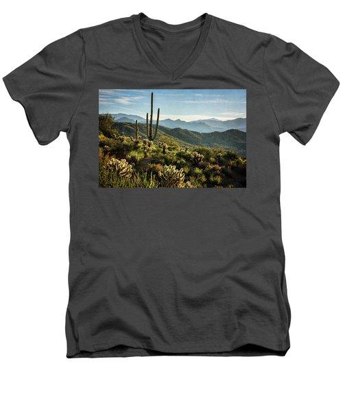 Men's V-Neck T-Shirt featuring the photograph Spring Morning In The Sonoran  by Saija Lehtonen