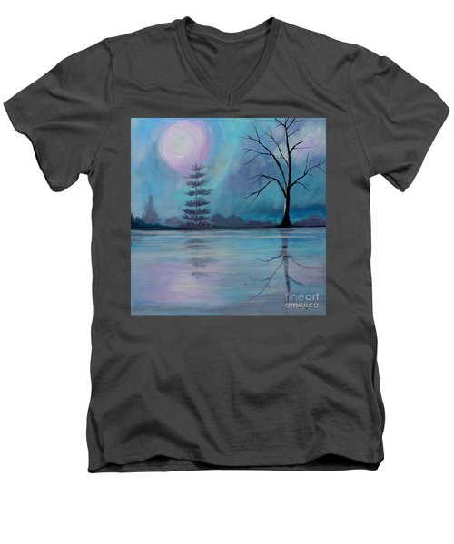 Men's V-Neck T-Shirt featuring the painting Spring Morning by Stacey Zimmerman