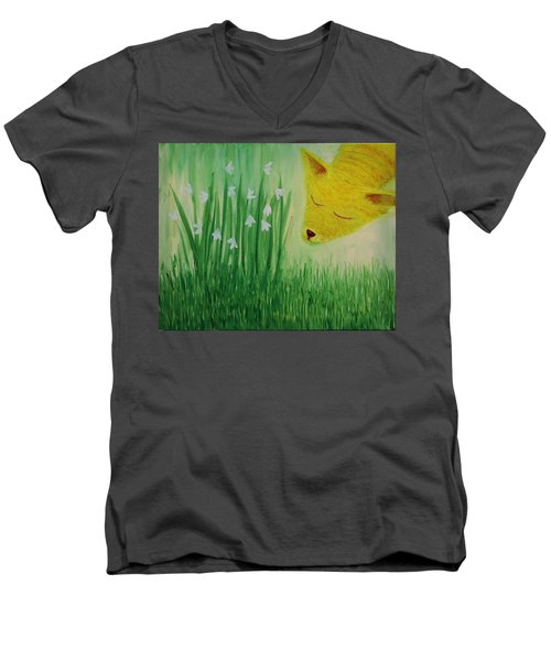 Men's V-Neck T-Shirt featuring the painting Spring Morning by Tone Aanderaa