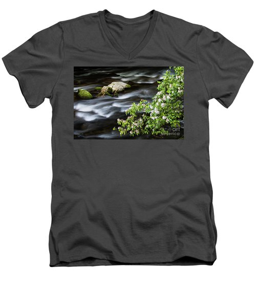 Men's V-Neck T-Shirt featuring the photograph Spring On The Oconaluftee River - D009923 by Daniel Dempster